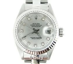 Rolex Datejust En Acier Inoxydable / 18k Montre En Or Blanc Argenté Diamond Dial