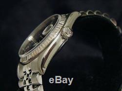 Rolex Datejust En Acier Inoxydable Et Or Blanc 18 Carats Montre Jubilé Noir 16234