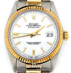 Rolex Datejust En Acier Inoxydable Et Or Jaune Montre Oyster Cadran Blanc 1601