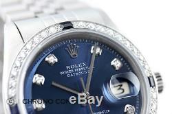 Rolex Datejust En Or Blanc 18 Carats Et Acier Inoxydable Blue Diamond Sapphire Montre