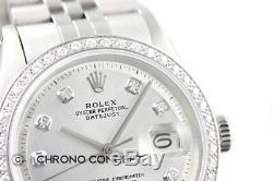 Rolex Datejust En Or Blanc 18 Carats Et Lunette Sertie De Diamants Montre En Acier Inoxydable
