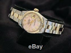 Rolex Datejust En Or Jaune 14k & Montre En Acier Rose Mop Diamond Dial 6917