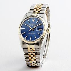 Rolex Datejust En Or Jaune 18 Carats 2t Montre En Acier Jubilee Band Cadran Bleu 16013