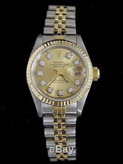 Rolex Datejust En Or Jaune 18 Carats 2tone Montre En Acier Diamant Champagne 69173