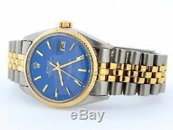 Rolex Datejust En Or Jaune Et Acier Montre Jubilee Style Bande Cadran Bleu 1601