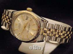 Rolex Datejust Hommes 2tone 14k Or Montre En Acier Inoxydable Silver Jubilee Band 1601