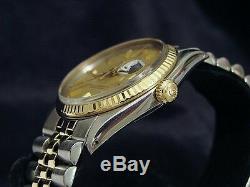 Rolex Datejust Hommes 2tone Or 14k En Acier Inoxydable Jubilé Avec Cadran Champagne 1601