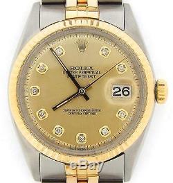 Rolex Datejust Hommes À Deux Tons 14k Diamant D'or En Acier Inoxydable Cadran Champagne 1601