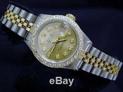 Rolex Datejust Lady 2tone 14k Or Jaune Et Montre En Acier Avec Diamond Dial Et Lunette