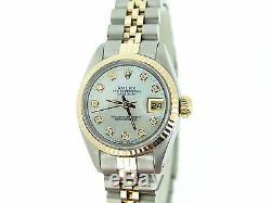 Rolex Datejust Lady 2tone 14k Or Montre En Acier Inoxydable Blanc Mop Diamant 6917