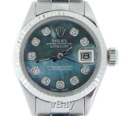 Rolex Datejust Lady En Acier Inoxydable Et 18k Montre En Or Blanc De Tahiti Mop Diamant