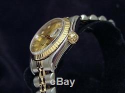 Rolex Datejust Lady En Or 18 Carats Et Acier Montre Champagne Factory Diamond Dial 69173