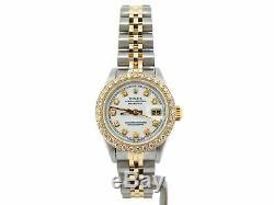 Rolex Datejust Lady Montre En Acier 18k Avec Cadran Et Lunette En Diamant Blanc 69173