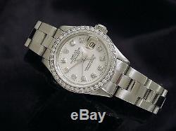 Rolex Datejust Lady Montre En Acier Inoxydable Blanc Mop Dial Diamond Et Diamond Bezel