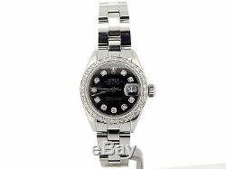 Rolex Datejust Lady Montre En Acier Inoxydable Oyster Black Diamond Dial. 70ct Bezel