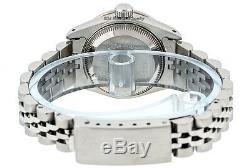 Rolex Datejust Lady Montre Ss & Or Blanc 18 Carats Bleu Saphir Et Diamant Cordes