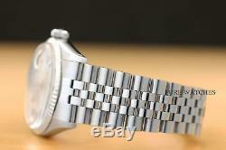 Rolex Datejust Mens Or Blanc & 18k Montre En Acier Avec Cadran Argent Original