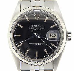 Rolex Datejust Montre En Acier Inoxydable Avec Cadran Noir Et Or Blanc 18 Carats Bezel