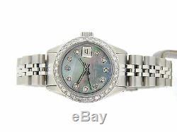 Rolex Datejust Montre En Acier Inoxydable De Tahiti Nacre Diamant