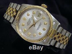 Rolex Datejust Montre En Acier Inoxydable Or Jaune 18 Carats Avec Cadran Argenté Pour Homme 16013
