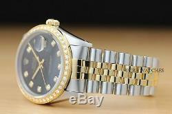 Rolex Datejust Montre En Acier Inoxydable Or Jaune Diamant Noir