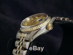 Rolex Datejust Montre Pour Femme 2 Tone En Or 14k Et Acier Avec Cadran Champagne Et Diamants 6917