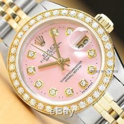 Rolex Datejust Pour Femme, Cadran Et Lunette En Diamant Rose, Montre En Or Jaune 18 Carats / Acier