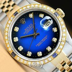 Rolex Mens Datejust Bleu Saphir Diamant Vignette Or Jaune 18 Carats Et Montre En Acier