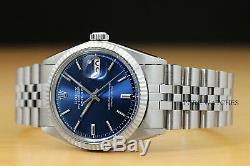 Rolex Mens Datejust Cadran Bleu En Or Blanc 18 Carats Et Montre En Acier Inoxydable