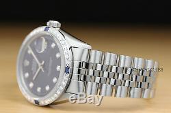 Rolex Mens Datejust De Diamants En Or Blanc Saphir Et Acier Cadran Bleu
