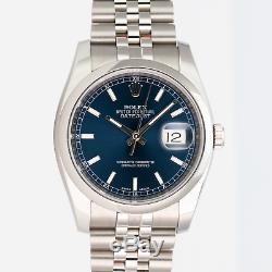 Rolex Montre De 36mm Hommes Datejust 116200 Acier Cadran Bleu Index Marqueurs Jubilee