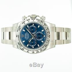 Rolex Montre Homme 40mm Cosmograph Daytona 116509 Or Blanc 18k Cadran Bleu