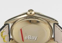 Rolex Oyster Perpetual Date De # 1 503 14k Or Jaune Avec Montre Bracelet En Cuir Hommes