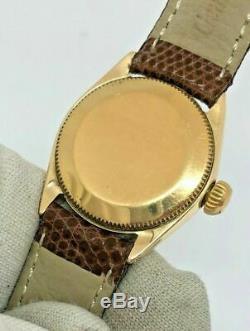 Rolex Oyster Perpetual Lady Président En Or 18 Carats Diamond Dial Cuir Vtg Domaine