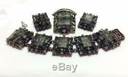 Rose Gris Noir Verre Argent Vtg Designer Collier Broche Bracelet Ensemble