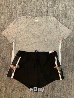 Secret Rose Bling De Victoria T-shirt Parfait Shirt + Set Shorts Noir Gris Or L
