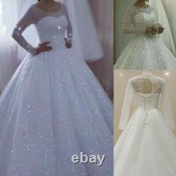 Shiny Princess Robes De Mariée 2020 Robe De Bal Manches Longues Plus Taille Robe De Mariée