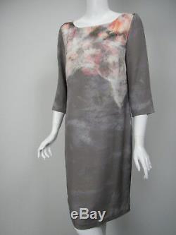 St John Black Label Robe En Soie Imprimée Chinée Gris Rose Blanche Sz 8