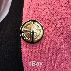 St. John By Marie Costume Gris Santana Knit Veste De Robe Noire Rose Vintage