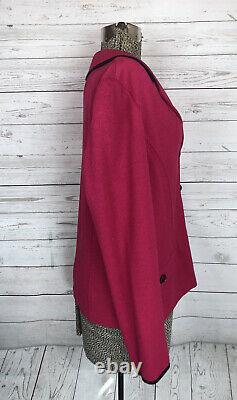 St. John Collection Marie Grey Santana Knit Blazer Jacket Fuchsia Pink Black 14