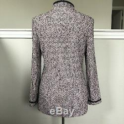 St John Marie Grey Jacket Costume En Maille Rose Et Noir Moucheté Blazer Sz 8