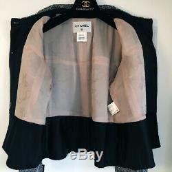 Superbe 7k $ Chanel 13a Rose Gris Noir Mauve Fantaisie Veste En Tweed 46 Boucle