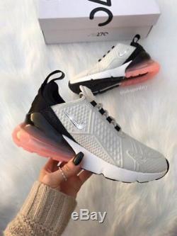 Swarovski Bling Nike Air Max 270 Chaussures Femmes Gris / Noir / Rose Nikes