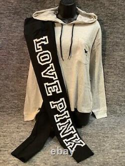 Sweat À Capuche Rose Victoria Secret Tee Shirt + Set Leggings Noirs M Dog Checkered