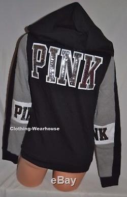Sweat À Capuche Zippé À Capuche Avec Logo Noir Pink Bling De Victoria's Secret - Noir