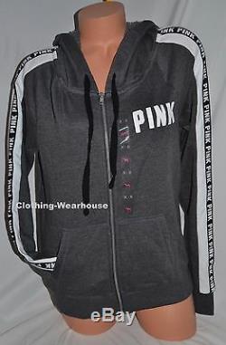 Sweat À Capuche Zippé À Logo Intégral Rose's Grey Black Logo De Victoria's Secret M Moyen