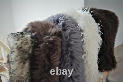 Tapis De Tapis En Peau De Mouton Vrai Moelleux Noir Blanc Gris Brun Long Cheveux Longs