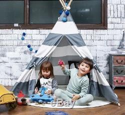Tente De Tipis Pour Enfants En Bois Playhouse Noir Rose Gris Blanc Cadeau Pour Garçon Fille