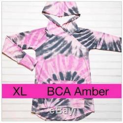 Tn-o Lularoe XL Amber Gris Noir Dye Tie Ruban Rose Hoodie Sensibilisation Du Cancer Du Sein