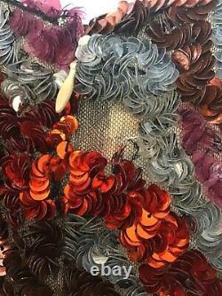 Tom Ford Sequin Une Ligne Robe Noire Rouge Gris Rose Et Argent Sans Manches Taille 40